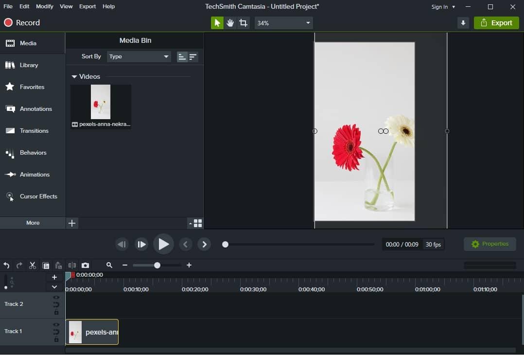 Интерфейс редактора видео Camtasia Studio