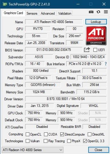 GPU-Z информация о видеокарте