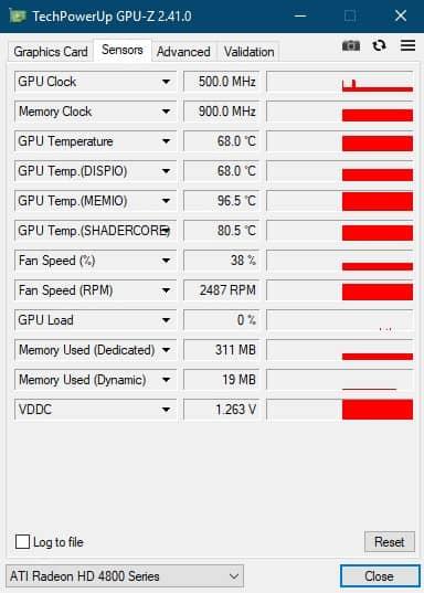 GPU-Z информация с датчиков