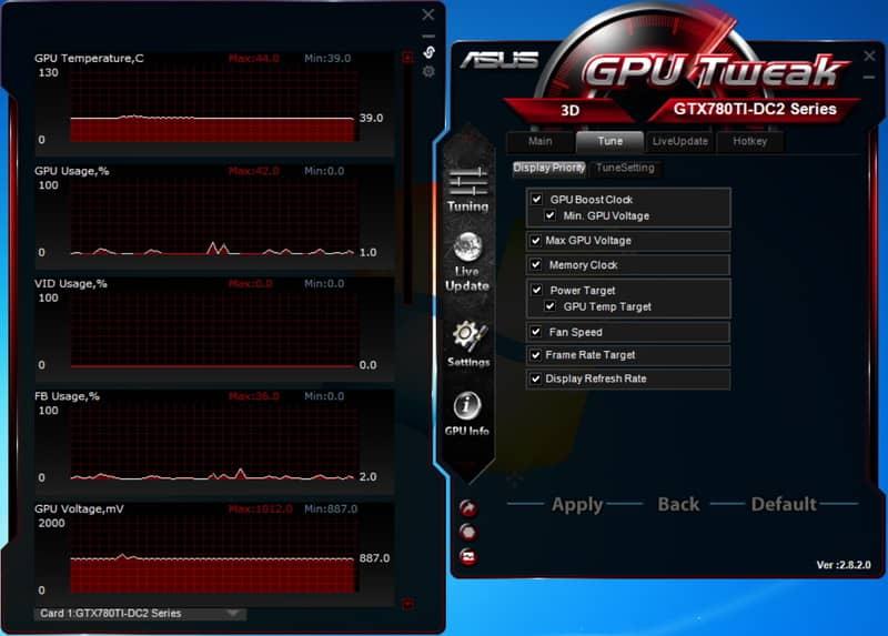 Интерфейс ПО для Настройки видеокарт ASUS GPU Tweak