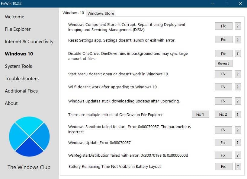 Поиск и исправление ошибок windows 10 программой FixWin